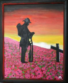 """Painting of """"The Somme"""" by blind veteran Derek O'Rourke Remembrance Day Activities, Remembrance Day Poppy, Painting Canvas, Painting & Drawing, Poppy Drawing, Soldier Silhouette, Ww1 Art, Poppy Craft, Anzac Day"""