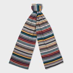 Paul Smith Men's Scarves | Grey Multi-Stripe Wool-Blend Scarf Men's Scarves, Striped Scarves, Paul Smith, Wool Blend, Pajama Pants, Mens Fashion, Grey, How To Wear, Stuff To Buy