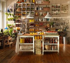 Love the look of full shelves, like the shelves hanging on wall