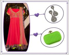 Dress it up: Pair this neon pink anarkali by Kanika Kedia with a parrot green Bottega Veneta and an angelic pair of earrings by Amrapali Jewels