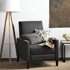 Sedgwick Recliner from West Elm. Small and not such a poufy recliner!