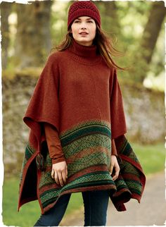 Traditional motifs from Andean Q'ero weavings form the striking border of this gorgeous bittersweet poncho. Handloomed of snuggly alpaca, and detailed with a ribbed t-neck and colorful tassels that tack the sides.