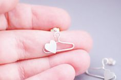 Heart Hanger Studs Cute Sterling Silver by CherryBlossomJewels0, £20.00