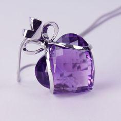 Amethyst Diamond Gold Heart Bow Pendant Necklace image 4