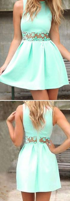 Blue homecoming dresses, High-neck prom dresses, Short Prom Dress, Lace Homecoming Dresses