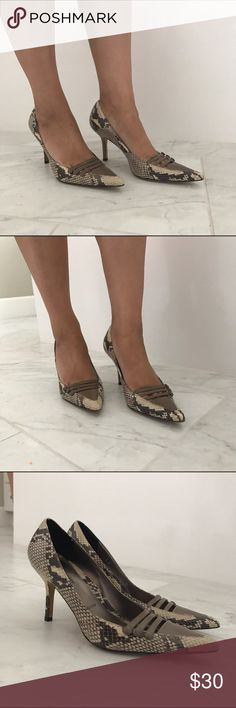 Amalfi snakeskin pattern pumps size 7 Amalfi snakeskin pattern pumps size 7. Great for work or pair with skinny jeans. 3.5 inch heels. Great used condition. Made in Italy. Bundle and save. 🎈👍😉. Amalfi  Shoes Heels