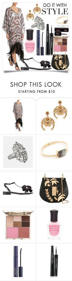 """Embellished Print Tunic with Fringe"" by camry-brynn ❤ liked on Polyvore featuring Elena Makri, Elizabeth Cole, Avenue, Ringly, Lanvin, Stila, Deborah Lippmann, Dolce&Gabbana and Yves Saint Laurent"