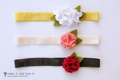 I prefer hot gluing flowers, but this site has links to where to buy fold over elastic.  http://shop.ebay.com/hobovian/m.html?_trksid=p4340.l2562