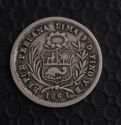 Moneda de medio real de 1861 Perú.