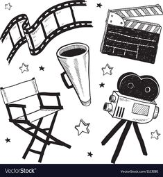 Doodle style movie set equipment sketch in vector format. Set includes clapperboard, director's chair, megaphone, film strip, and camera. Camera Logo, Camera Art, Movie Camera, Camera Hacks, Camera Tips, Movie Reels, Film Reels, Film Movie, Movies
