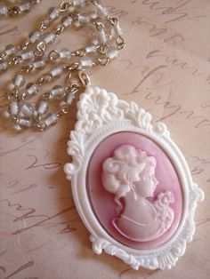 Cameo - lovely pink and white with beaded chain... so feminine!