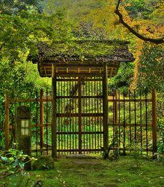 Entrance gate of Japanese garden in Kamakura