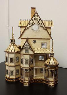 DIY Kit laser cut wood Dollhouse kit 1/48 quarter by bestroomboxes