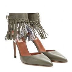 Valentino C-Rockee Fringed Leather Sandals featuring polyvore, fashion, shoes, sandals, green, fringe shoes, leather sandals, olive green sandals, valentino shoes and leather shoes