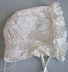 beautiful antique Ayrshire baby bonnet