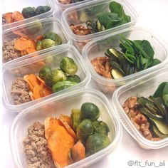 Just finished #mealprep and ready to smash Week 7  This week's menu is Ground Turkey Brussels sprouts and sweet potatoes for lunch &  Chicken breast zucchini and spinach. So this is #womp for @fitness.inflipflops and @my_fit_life_uk Thank you for the tag ladies  Hope everyone got their workouts in today! And if you haven't  Go workout! You'll thank yourself after  #progress #cleaneating #healthyeating #healthyfood #colorfulmeals #bbg #bbg1 #bbgfam #bbggirl #bbgsisters #bbgboston…