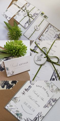 Greenery Wedding Stationery Collection. Using a combination of grey, green, silver and natural leaves and ferns with Kraft envelopes. Perfect for a stylish modern or vintage themed wedding. Part of the 'DUSTY MILLER' collection by Paper Date.