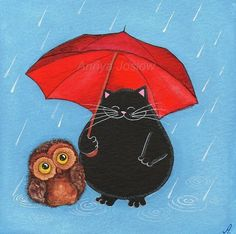 """Making a Friend in the Rain - Owl & Cat Big Red Umbrella."" The expressions here make me smile; that is one awfully happy black cat."