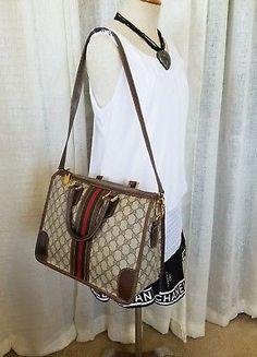 78c77bfa219 Details about Vintage Gucci 2 way Hand Bag Purse GG Monogram 70 s Classic  Authentic