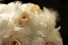 Feather and Preserved Rose Bouquet with Pearls
