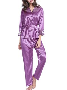 Burvogue Long sleeve nightgown set makes you more attractive, charming and chic.