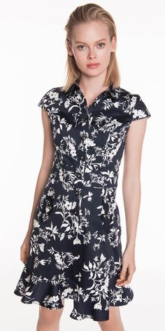 Made from a leafy floral cotton from Europe, this collared dress features a button front placket, pocket flap detailing, a fluted hem and cap sleeves. Made in China. Collared Dress, Buy Dresses Online, Batik Dress, Button Front Dress, Work Outfits, Cap Sleeves, Evening Dresses, Casual Dresses, Floral Prints
