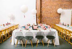 table setting reception decor decoration wedding balloons cute pink modern | Jen + Kat | Los Angeles Stylish Same Sex Wedding | Jenn Emerling Weddings