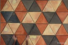 Terracotta floor tiles handmade by Todobarro Floor Patterns, Tile Patterns, Floor Art, Tile Floor, Terracota Floor, Swimming Pool Mosaics, Hexagon Tiles, Wooden Flooring, Wall Tiles