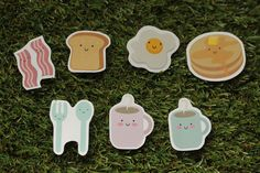 Breakfast Sticker Pack Cute Bacon, Eggs, Coffee, Toast, Fork, Spoon, Pancake, Illustration, Scrapbook, Invitation.