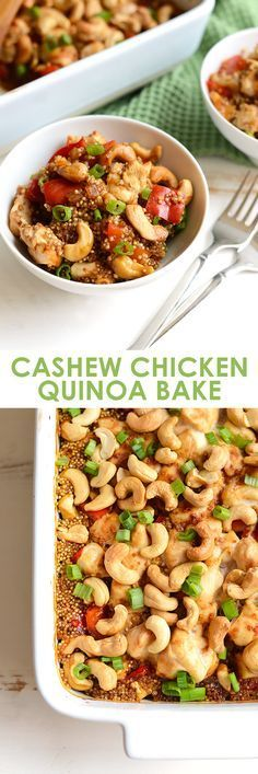 Healthy Cashew Chicken Casserole – Fit Foodie Finds Make this Cashew Chicken Quinoa Bake for a high-protein, one-dish meal that the whole family will love! Meal prep at its finest! Real Food Recipes, Chicken Recipes, Cooking Recipes, Cooking Tips, Think Food, Food For Thought, High Protein Recipes, Healthy Recipes, Cashew Recipes