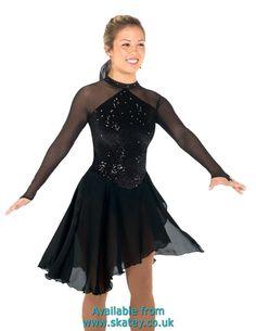 Black sequined velvet dress with long georgette skirt and long black mesh sleeves with finger points. Ice Dance Dresses, Ice Skating Dresses, Skater Dresses, Trendy Dresses, Tight Dresses, Nice Dresses, Samba, Figure Skating Outfits, Necklines For Dresses