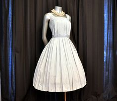 Birdcage Pleats Vintage 50's Dusty Blue by Planetclairevintage, $165.00