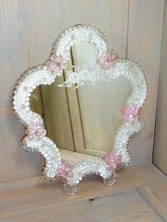 NP592 * BEAUTIFUL MURANO ART GLASS MIRROR * PINK GLASS * VINTAGE ITALY  1950u0027s