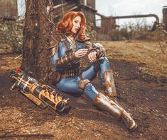 More Fallout Spam for you today 💙🙌 I am so happy with the photos, the location was just perfect. This costume looks awesome and is comfy at… Fallout 4 Cait, Fallout Theme, Fallout Fan Art, Fallout Concept Art, Cosplay Fallout, Lightning Cosplay, Vault Dweller, Pop Art, Fall Out 4