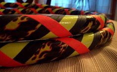 Choose any color(s) to replace the fluorescent yellow duct tape and/ or fluorescent orange gaffer (grip) tape for your own CUSTOM Playin' with Fire Collapsible Hula Hoop! *Fluorescent gaffer tape is UV (black light) reactive!*