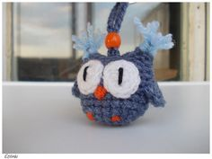 Denim Blue Amigurumi Owl Keychain, Crochet Amigurumi Eule Schlüsselanhänger, Car Accessories, Owl Bag Charm by Etilinki on Etsy