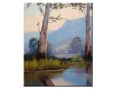 PINTURA al óleo árboles paisaje australiano granja arte por