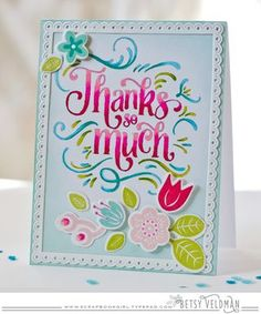 Thanks So Much Card by Betsy Veldman for Papertrey Ink (March 2016)