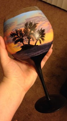 Beach hand painted large wine Goblet with fish charm by Megthemama Painted Wine Bottles, Hand Painted Wine Glasses, Wine Painting, Bottle Painting, Christmas Wine Glasses, Wine Craft, Sharpie Markers, Spice Racks, Charm Rings