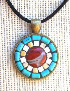 Handmade mosaic tile pendant / necklace by NikkiSullivanMosaics, $34.50