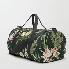 22074ed71f3 Dark Botanical Garden Duffle Bag by 83oranges. #dufflebag #streetstyle  #mensfashion #fashion #fitness #gym #floral #pattern #art #design  #illustration