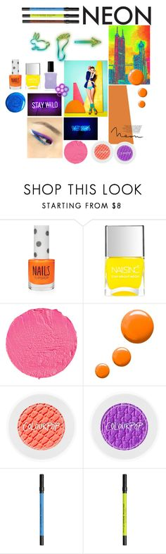 """Neon MakeUp"" by taci42 ❤ liked on Polyvore featuring beauty, Urban Decay, Topshop, Nails Inc. and Givenchy"