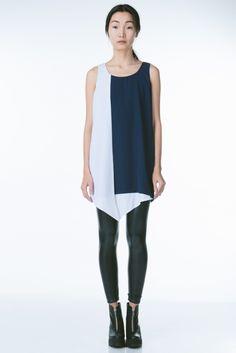 Navy + White Color Block Dress with an Avant-Garde Loop Hem by Finders Keepers