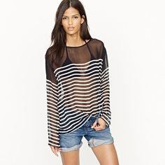 I think I could live in this... and would not complain a bit!    Nili Lotan® long-sleeve silk stripe tee
