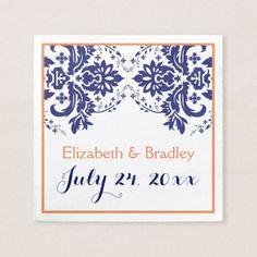 Elegant damask motif navy blue, coral wedding napkin