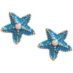 Starfish Stud Earrings ($30) ❤ liked on Polyvore featuring jewelry, earrings, blue, accessories, women, betsey johnson, blue jewelry, betsey johnson jewelry, starfish earrings and earring jewelry