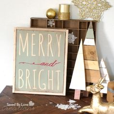Merry And Bright Handpainted Christmas Sign