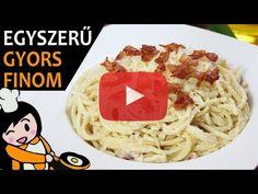Egyszerű baconös spagetti recept elkészítése videóval. A baconös spagetti elkészítését, részletes menetét leírás is segíti. Elkészítési ideje: 30p Spagetti, Bacon, Make It Yourself, Ethnic Recipes, Youtube, Food, Essen, Meals, Youtubers