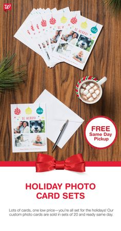 Our custom Photo Cards come in sets of 20--perfect for sending out holiday greetings to the whole family! Get it today with FREE Same Day Pickup.