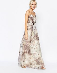 Image 4 ofLittle Mistress Printed Bandeau Maxi Dress with Bar Belt